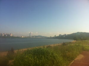 My first sight of Seoul along the Han River.