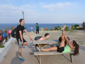 Team stretching…take notes Team Sky!