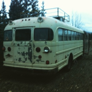 My hotel for one night. Found this bus out in the woods, kept me warm and dry and gave me a little more protection from the bears.