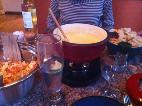 Treated to cheese fondue...the not so secret way to my heart.