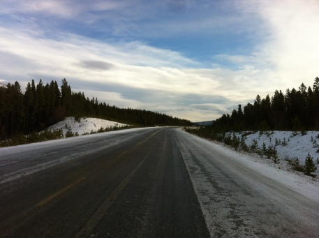 Snow and ice returned whilst in the Yukon. Made cycling a little sketchy at times.