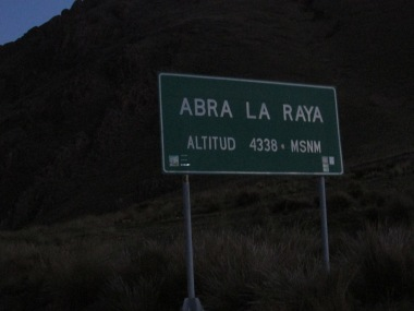 The last big climb before leaving Peru. Most of the 392 kms were above 3,800 metres
