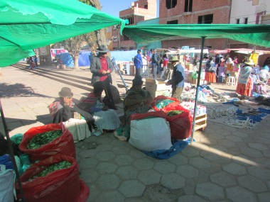 Selling Bolivia's famous national product....the Coca leaf. Bolivians a very proud of the traditional uses of Coca and don't like its link with Cocaine
