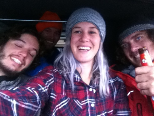 Cramming into the van with these legends to keep out of the rain