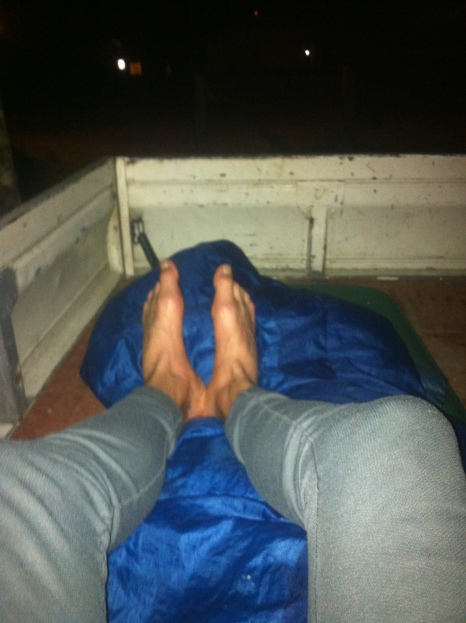 Kipping in the back of the pick up truck for the night.