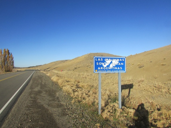 These propaganda signs for The Falklands (Malvinas) are all over Patagonia...still a sore subject for Argentina it seems.
